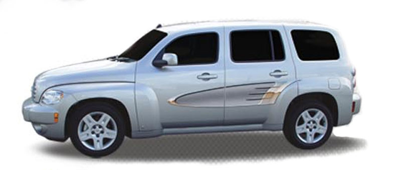 Vintage steel automotive vinyl graphics universal fit decal stripes kit pictured with pt cruiser or hhr ill v0201
