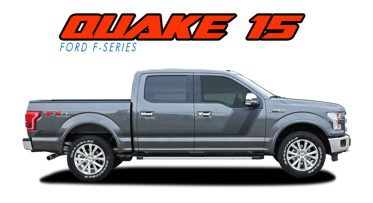 QUAKE 15 PACKAGE  2015 2016 2017 Ford F-150 Hockey Stripe Tremor FX Appearance Style Side Doors and Hood Vinyl Graphics Decals Striping Kit (VGP-3521)  sc 1 st  VinylGraphicsPro & QUAKE 15 PACKAGE | Ford F150 Stripes | F150 Decals | F150 Vinyl Graphics