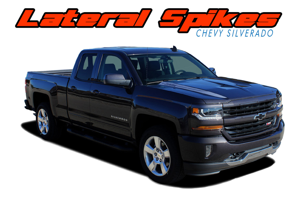 Chevy Silverado Hood Spear Vinyl Graphic Stripe Decal LATERAL - Truck decal graphics