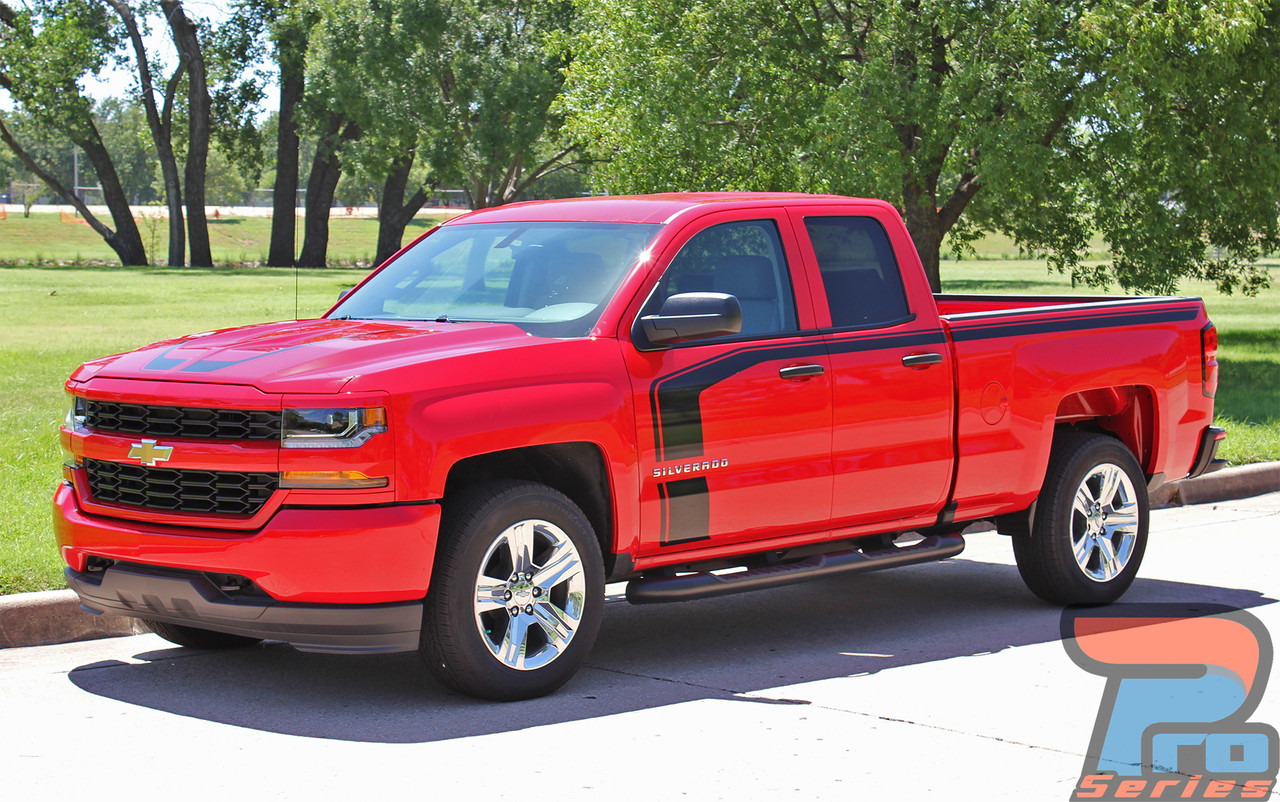 chevy silverado hood door stripe vinyl graphic decal flow 2016 2018. Black Bedroom Furniture Sets. Home Design Ideas