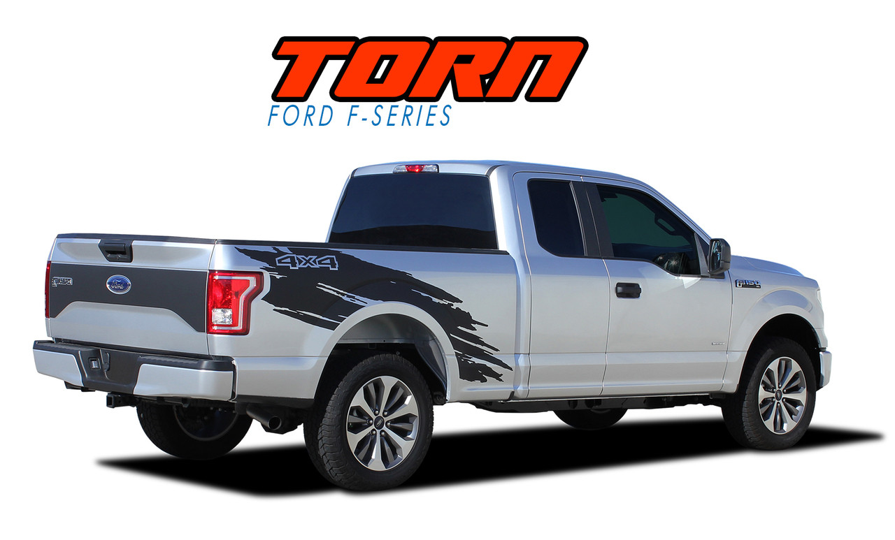 torn ford  stripes  bed decals  truck vinyl graphics