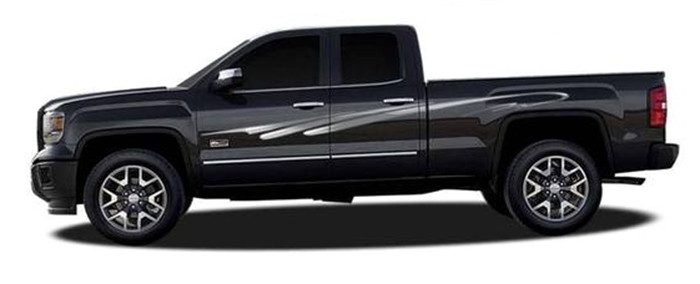 Tsunami automotive vinyl graphics universal fit decal stripes kit pictured with chevy silverado and toyota tacoma ill 419