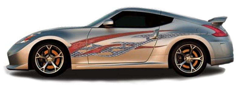 Rock star automotive vinyl graphics universal fit decal stripes kit pictured with two door sports car ill 1396