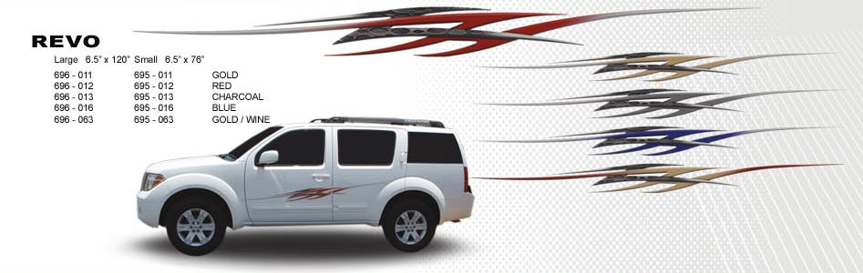 Revo automotive vinyl graphics universal fit decal stripes kit pictured with midsize crossover
