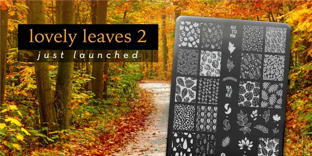 Uber Chic stamping plate Lovely Leaves 02