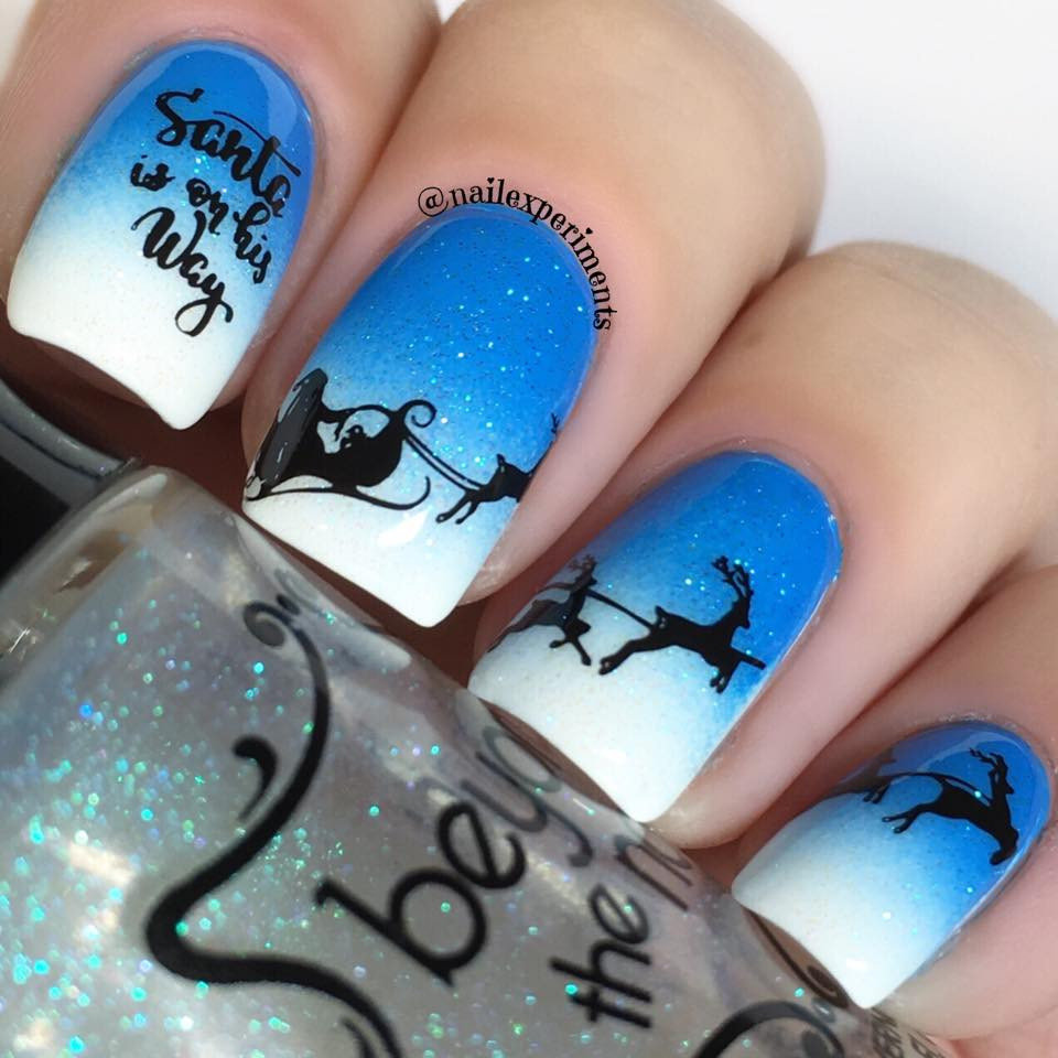 Lina stamping plate Can't Wait for Xmas 02. Available in the USA at www.lanternandwren.com. Mani by @nailexperiments.