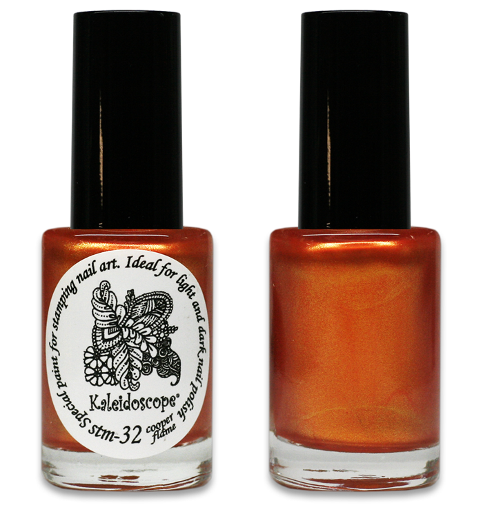 Kaleidoscope No. Stm-32 - Copper Flame shifting Nail Stamping Polish by El Corazon, 9 ml, available at www.lanternandwren.com.