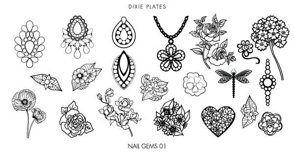 Dixie Plates Nail Gems 01 mini nail stamping plate. Available at www.lanternandwren.com.