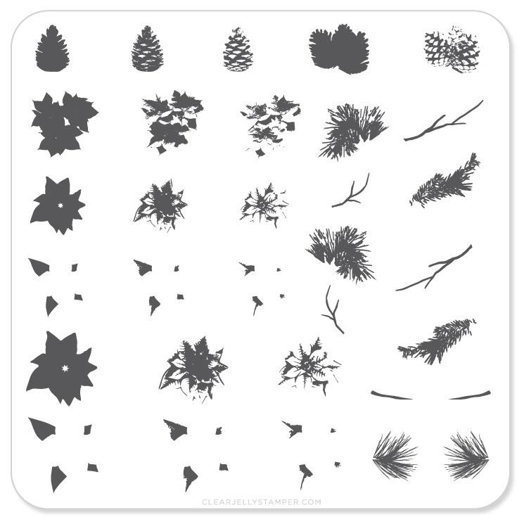 Pines & Poinsettias nail stamping plate by Clear Jelly Stamper. Available in the USA at www.lanternandwren.com.