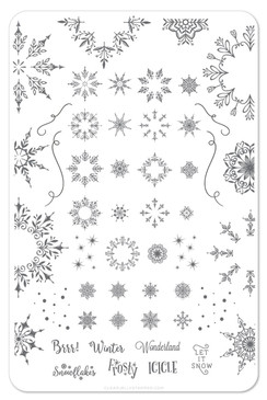 Clear Jelly Stamper Let it Snow nail stamping plate. Available in the USA at www.lanternandwren.com.