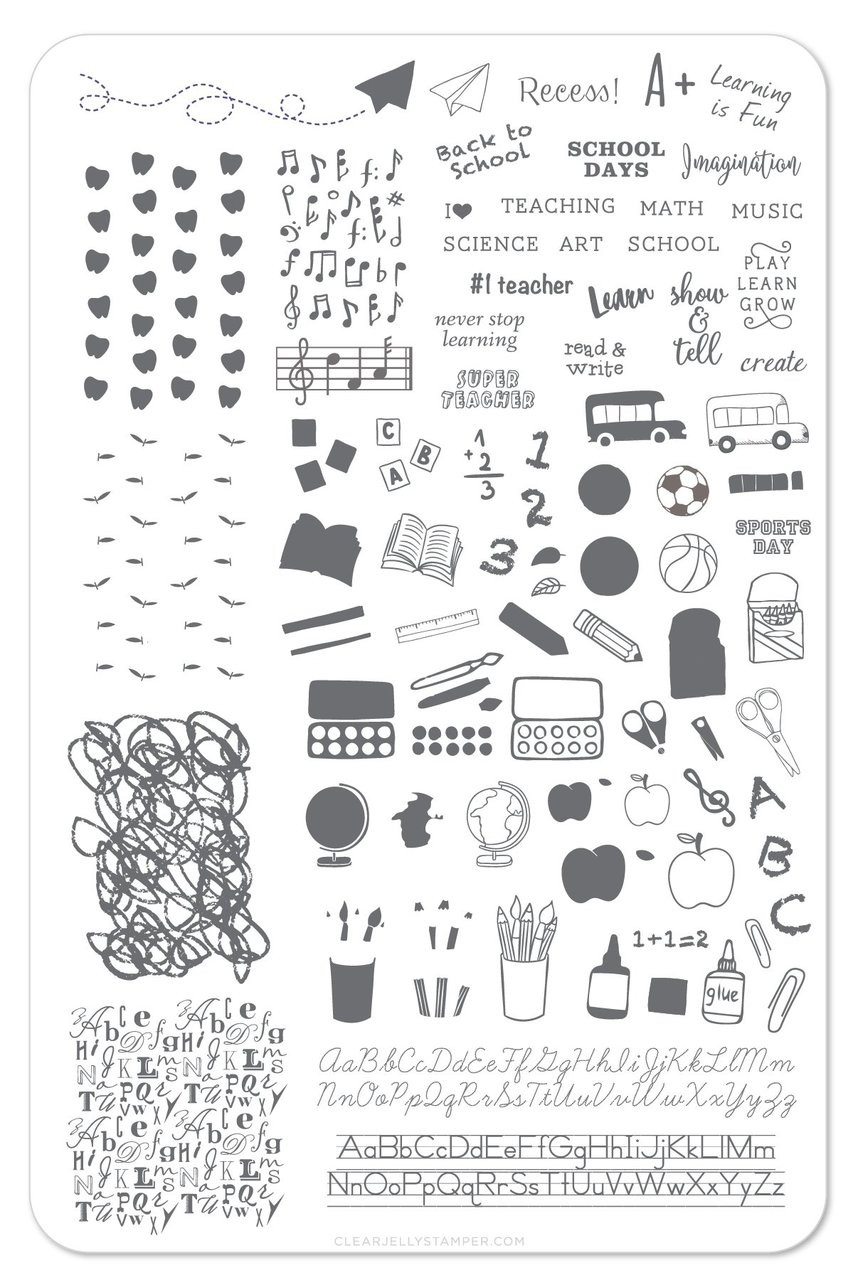 Clear Jelly Stamper Back to School! nail stamping plate. Available in the USA at www.lanternandwren.com.