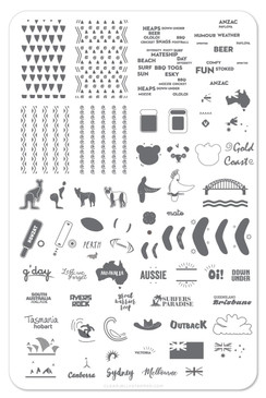 Clear Jelly Stamper Land Down Under nail stamping plate. Available in the USA at www.lanternandwren.com.