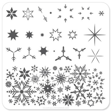 Clear Jelly Stamper Snowflakes nail stamping plate. Available in the USA at www.lanternandwren.com.