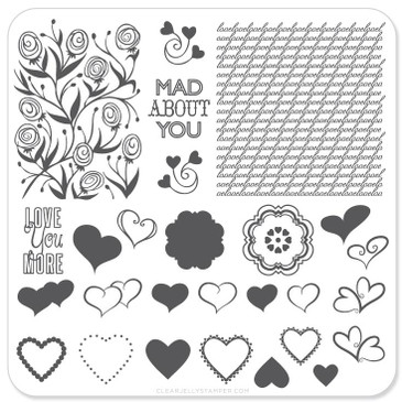 Clear Jelly Stamper Layers of Love nail stamping plate. Available in the USA at www.lanternandwren.com.