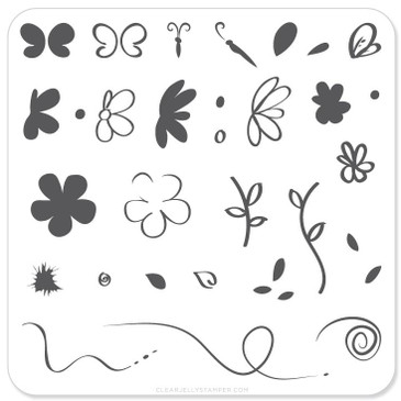 Clear Jelly Stamper Infinite Flower nail stamping plate. Available in the USA at www.lanternandwren.com.