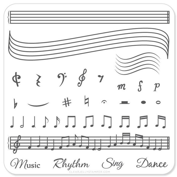 Clear Jelly Stamper Music & Notes nail stamping plate. Available in the USA at www.lanternandwren.com.