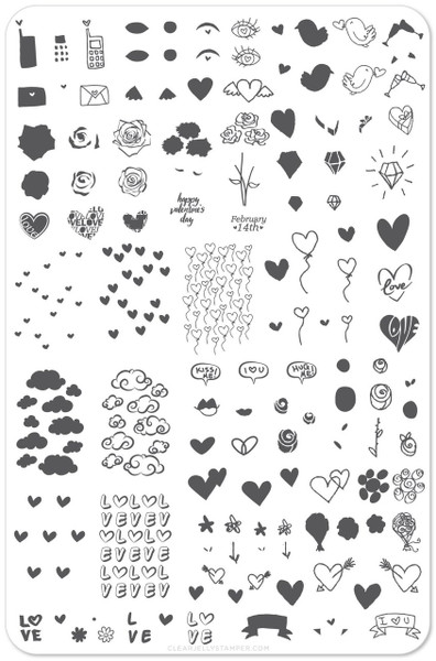 Clear Jelly Stamper Never Ending LoVe! nail stamping plate, available in the USA at www.lanternandwren.com.