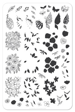 Peacock's Garden nail stamping plate by Clear Jelly Stamper. Available in the USA at www.lanternandwren.com