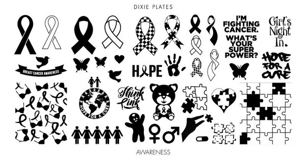 Dixie Plates Awareness mini stamping plate. Available in the USA at www.lanternandwren.com.