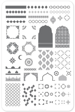 Moorish Motifs nail stamping plate by Clear Jelly Stamper. Available in the USA at www.lanternandwren.com