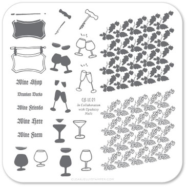 Wine Shop nail stamping plate by Clear Jelly Stamper, available at www.lanternandwren.com.