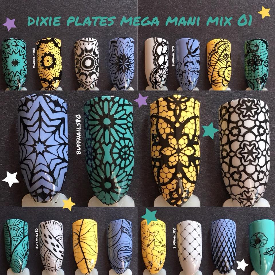 Dixie Plates Mega Mani Mix nail stamping plate. Available at www.lanternandwren.com.