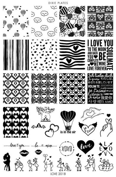 Dixie Plates Love 2018 nail stamping plate. Available at www.lanternandwren.com.