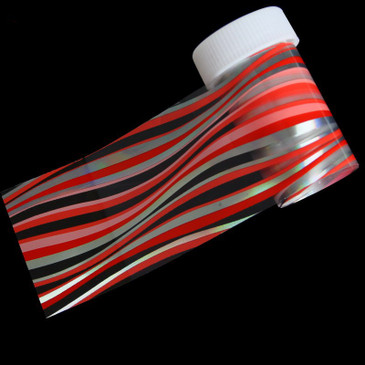 Red, pink and silver stripes holo nail foil. Available at www.lanternandwren.com.