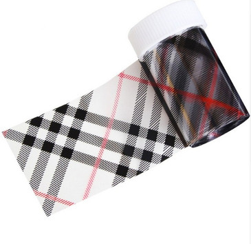 Black and Red Tartan Plaid Nail Foil. Available at www.lanternandwren.com.