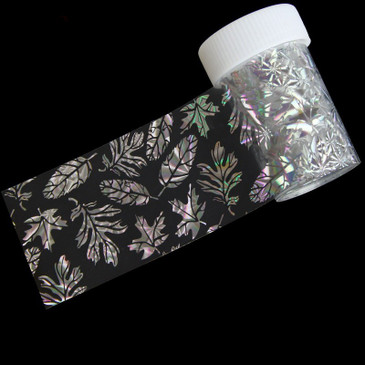 Holographic Silver Leaves Nail Foil.  Available at www.lanternandwren.com.