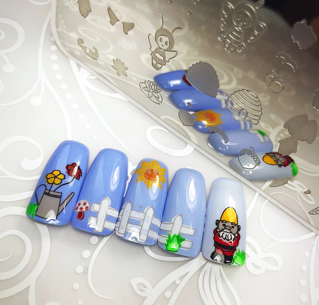 Gnome Place Like Home nail stamping plate by Clear Jelly Stamper. Available in the USA at www.lanternandwren.com