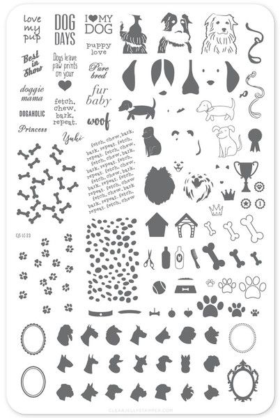 Puppy Love nail stamping plate by Clear Jelly Stamper. Available in the USA at www.lanternandwren.com