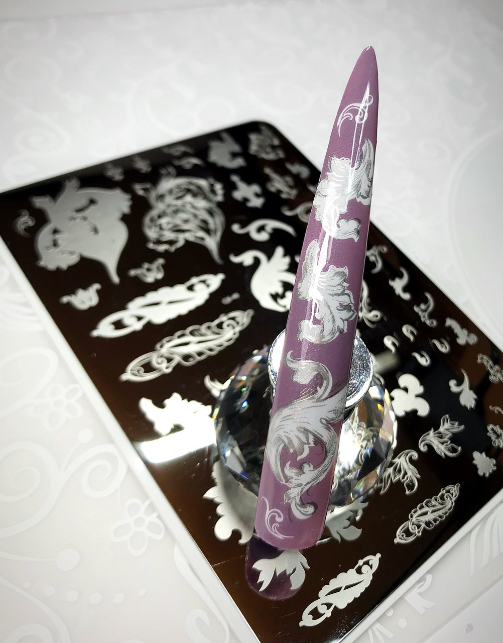 Ornamental Flourish nail stamping plate by Clear Jelly Stamper. Available in the USA at www.lanternandwren.com