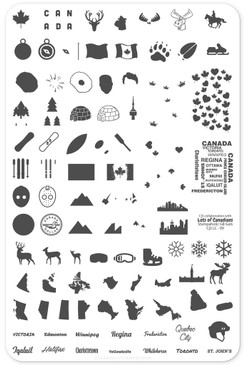 Oh Canada! nail stamping plate by Clear Jelly Stamper, available at www.lanternandwren.com.