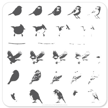 Itty Bitty Birds nail stamping plate by Clear Jelly Stamper, available at www.lanternandwren.com.