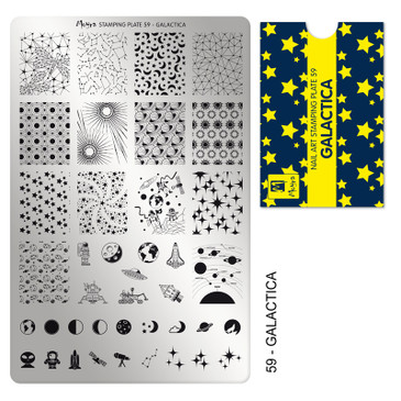 Moyra Galactica nail stamping plate, available at www.lanternandwren.com.