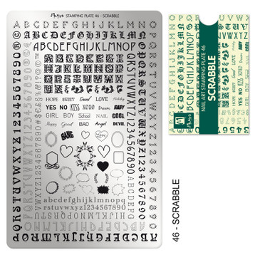 Moyra Scrabble nail stamping plate, available at www.lanternandwren.com.