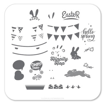 Hippity Easter nail stamping plate, available at www.lanternandwren.com.