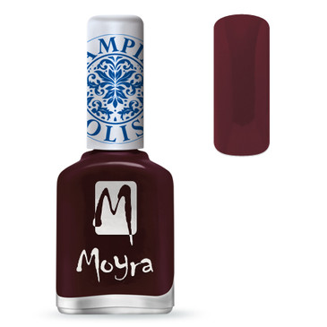 Moyra SP03 burgundy red nail stamping polish. Available at www.lanternandwren.com.