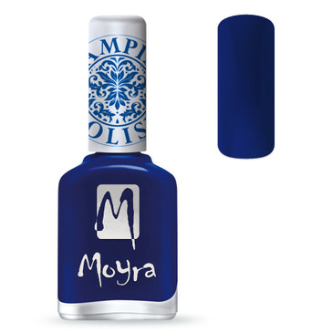 Moyra SP05 blue nail stamping polish. Available at www.lanternandwren.com.