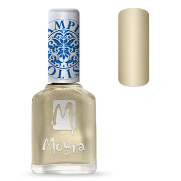 Moyra SP09 gold nail stamping polish. Available at www.lanternandwren.com.