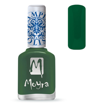 Moyra SP14 dark green stamping polish. Available at www.lanternandwren.com.