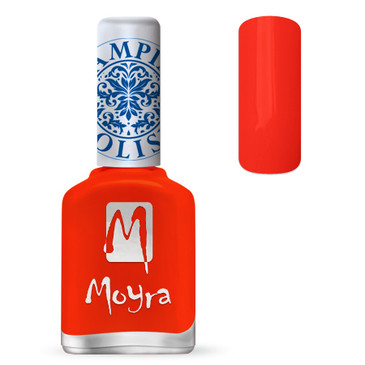 Moyra SP21 neon red stamping polish. Available at www.lanternandwren.com.