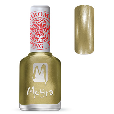 Moyra SP24 chrome gold stamping polish. Available at www.lanternandwren.com.