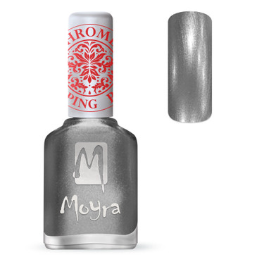 Moyra SP25 chrome silver stamping polish. Available at www.lanternandwren.com.