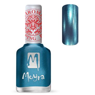 Moyra SP26 chrome blue stamping polish. Available at www.lanternandwren.com.