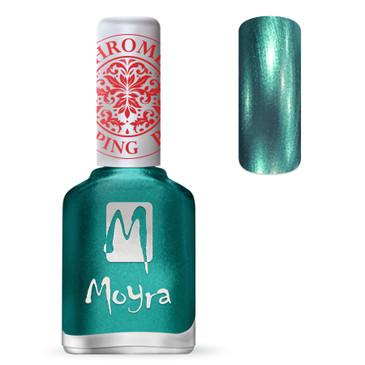 Moyra SP27 chrome green stamping polish. Available at www.lanternandwren.com.