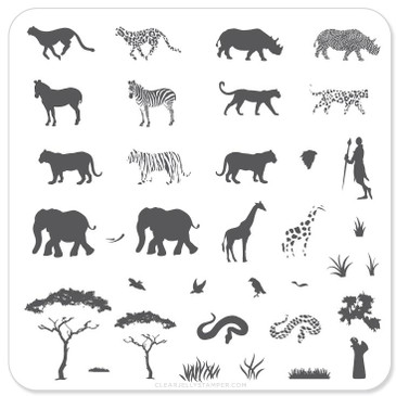 Clear Jelly Stamper Out of Africa nail stamping plate, available at www.lanternandwren.com.