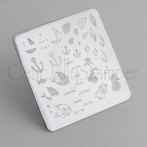 Clear Jelly Stamper Mermaid Doodle 1 nail stamping plate, available at www.lanternandwren.com.
