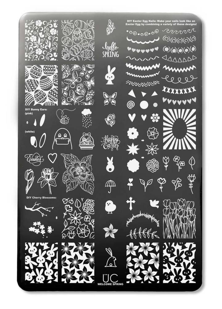 Welcome Spring nail stamping plate by Uber Chic, available at www.lanternandwren.com.
